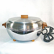 Buffet Chef 1940s Chrome With Oak Trim Electric Food Server Warmer