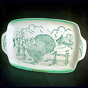 Bell of California 1950s Pottery Turkey Farm Scene Platter