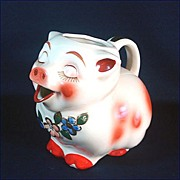 Shawnee Smiley Pig Water Pitcher Gold Trim