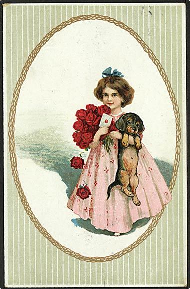 &quot;Girl with dog and red roses&quot;  (1919)