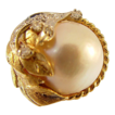 14 Karat Yellow Gold Mobe Pearl and Diamond Ring