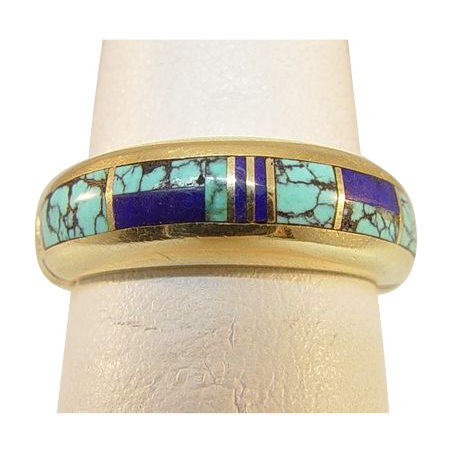 14 Karat Yellow Gold Turquoise and Lapis Ring