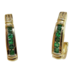 14 Karat Yellow Gold and Emerald Hoops