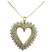 14 Karat Yellow Gold and Diamond Heart Necklace