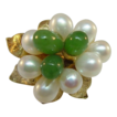 14 Karat Yellow Gold Pearl and Jade Ring