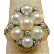 Beautiful 14 Karat Yellow Gold Pearl and Diamond Ring