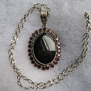 "Vintage Navajo Indian ""BIG""  Onyx Garnet Sterling Silver Necklace"