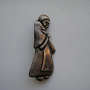 Vintage Mexico Taxco Los Castillo Sterling Figural Woman Peasant Mexican Silver Book Piece Pin