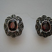 "Vintage Garnet Marcasite Earrings ""HUGE"" Art Deco Sterling Silver Pierced Earrings"