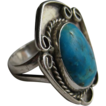 Vintage Navajo Native American Silver Turquoise Filigree Ring