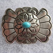Vintage Navajo Native American Turquoise Engraved Sterling Silver Pin Brooch