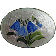 Vintage Arnie Nordlie Norway Blue Bell Flower Sterling Silver Enamel Guilloche Pin Brooch