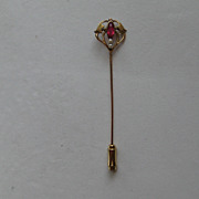 Vintage Victorian 10k Stick Pin Yellow Rose Gold Garnet Seed Pearl