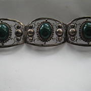 Vintage Mexico Taxco LARGE Sterling Silver Green Jade Like Stone Bangle Bracelet
