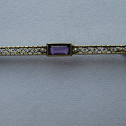 Vintage 14k Amethyst Seed Pearl Bar Pin Art Deco Pin Brooch