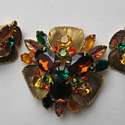 Vintage D & E Juliana ABSTRACT FLORAL Brass Corrugated Navettes Set Brooch Earrings Pin