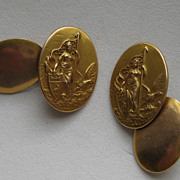 "Vintage Victorian Edwardian Cufflinks"" WAR WOMEN"" Patriotic Gold Brass Figural"
