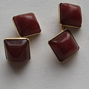 Vintage Carnelian 10k Art Deco Cufflinks European England Cuff Links