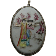 Vintage China Wedding Pendent Silver Painted Porcelain 1920's Necklace