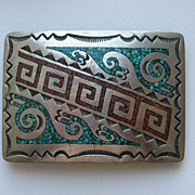 Vintage Navajo Belt Buckle Sterling Silver Turquoise Coral Stone Chips Engraving