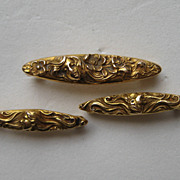 "Vintage Art Nouveau 14k Yellow Gold  ""3""  Krementz Pins Women's Faces Floral Set"