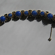 "Vintage Signed Kramer N.Y.  Early BRIGHT "" Blue Art Glass""  Rhinestone Bracelet"