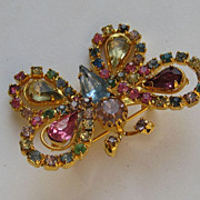 Vintage Butterfly Trembler &quot; RAINBOW COLORS&quot; Pin Brooch