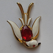 "Vintage Coro Pin Enamel ""Jelly Belly"" Red Rhinestone 1940's Bird Brooch"