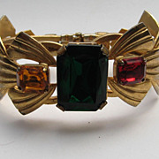 "Vintage Large Octagonal Cut Green Red Topaz Pink Royal Blue Rhinestone ""BIG"" Clamper"