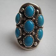 Vintage LARGE Native American Large Silver Oval Turquoise Ring Men's Ladies Ring