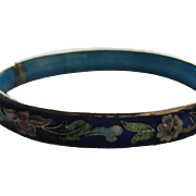Vintage China Chinese Cloisonne Inlaid Flower Floral Bracelet Bangle
