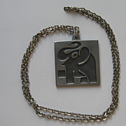 "Vintage Jorgen Jensen Necklace "" Happy Elephant""  Modernist Abstract Large Denmark P"