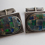 Vintage Mexico Taxco Sterling Silver &quot; OPAL&quot; Signed Cufflinks 1930's