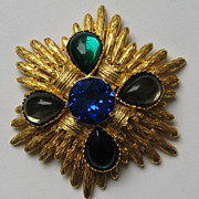 "Vintage Vans Authentic ""HUGE"" CROWNS  Brooch Pendent Bright Rhinestones"
