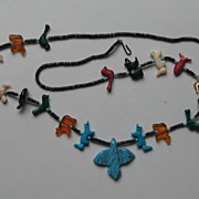 Vintage Zuni Fetish Necklace Turquoise Heishi Shell Beads
