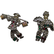 Vintage Asian Couple SWINGING Pin Set Signed 1938 Rhinestones Rhodium MINT