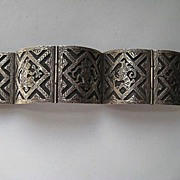 Vintage Taxco Mexico Sterling Fine Filagree 5 Panels Bracelet Bangle