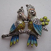 Vintage Alice Caviness Love Birds Germany Enamel Marcasite Silver Brooch Pin