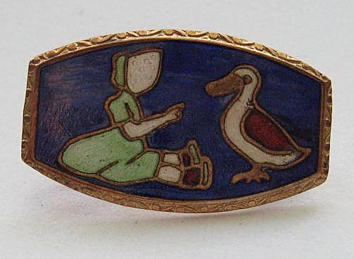 Vintage Cloisonne Enamel Girl Duck Guilloche  Arts  Crafts Brooch Pin