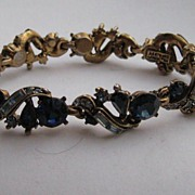 "Early Vintage Hollycraft  ""ROYAL BLUE"" Bracelet 1957 Rhinestone Signed"