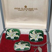 Vintage Japan Ando Cloisonne Silver Lilly Orchid Enamel Necklace Earring Set