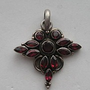 "Vintage Garnet Pigeon Blood Red Cross Silver ""LARGE"""
