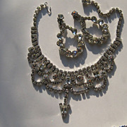 Vintage Weiss Necklace DANGLE Shoulder Duster Earrings Set  Austrian Rhinestone