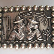 "Vintage Taxco Mexico ""AWESOME"" Silver Artist Stylized Pin Brooch"