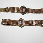 "Vintage  Victorian 10k  2 ""Cameo""  Wedding Garter 10K Gold Filled Slide Bracelet Set"