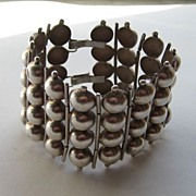 "Vintage Mexico Taxco Bracelet Early Silver Balls ""WIDE"" 1930's"