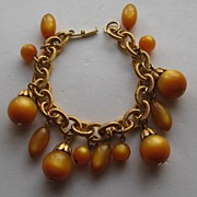 Vintage Moonglow  Dangle Bracelet Yellow Amber Napier Style Bangle