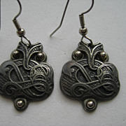 Vintage Norway Tinn Per Viking Design Pierced Dangle Pewter Earrings