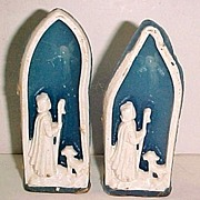 "SALE Pair of Gurley 4"" Shepherd Jesus Lamb and Angel Window Christmas Candles"