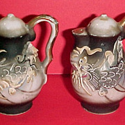 SOLD Moriage Dragonware Miniature Coffee Pot Shaped Salt & Pepper Shakers